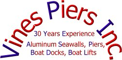 Vines Piers, Inc. graphic logo - docks piers seawalls 30 years experience construction